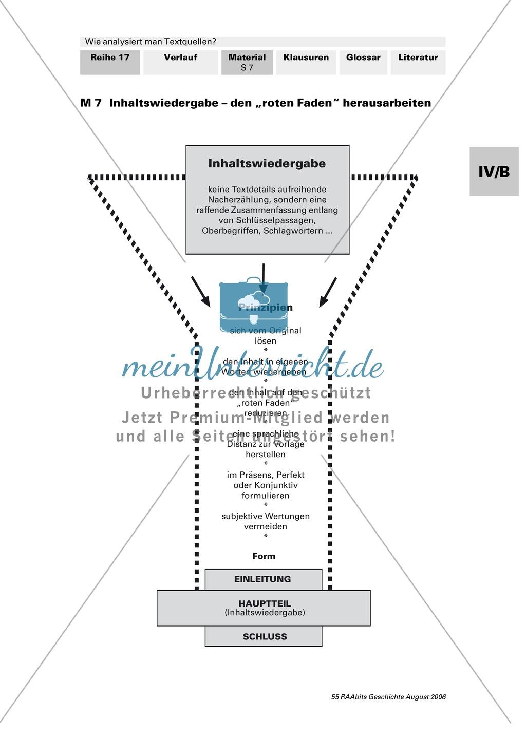 Analyse von Textquellen: Systematisierunghilfe zur Analyse - Authentizitätsgrad und Aussagewert bestimmen, Inhaltsangabe schreiben, Formulierungshilfen für eigenen Text verwenden Preview 1