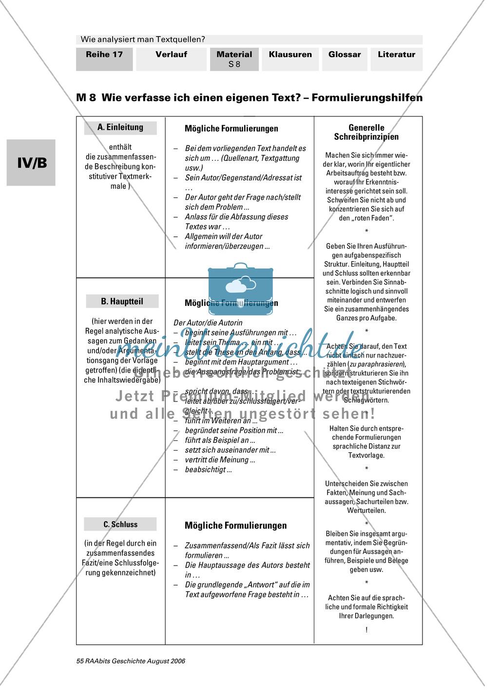 Analyse von Textquellen: Systematisierunghilfe zur Analyse - Authentizitätsgrad und Aussagewert bestimmen, Inhaltsangabe schreiben, Formulierungshilfen für eigenen Text verwenden Preview 2
