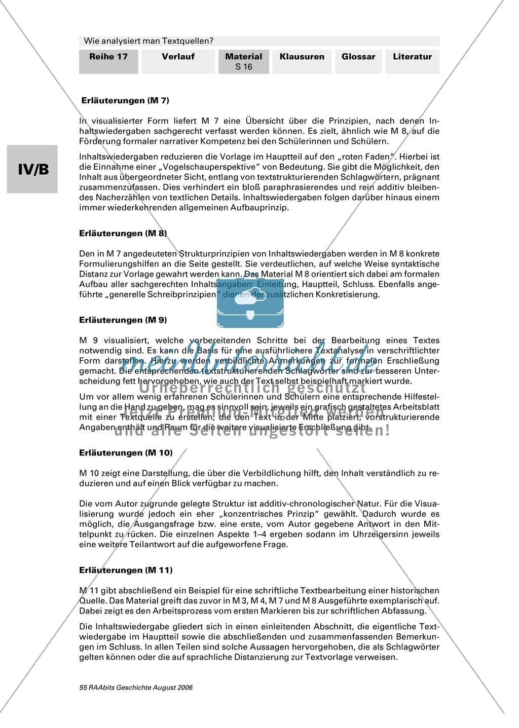 Analyse von Textquellen: Systematisierunghilfe zur Analyse - Authentizitätsgrad und Aussagewert bestimmen, Inhaltsangabe schreiben, Formulierungshilfen für eigenen Text verwenden Preview 4