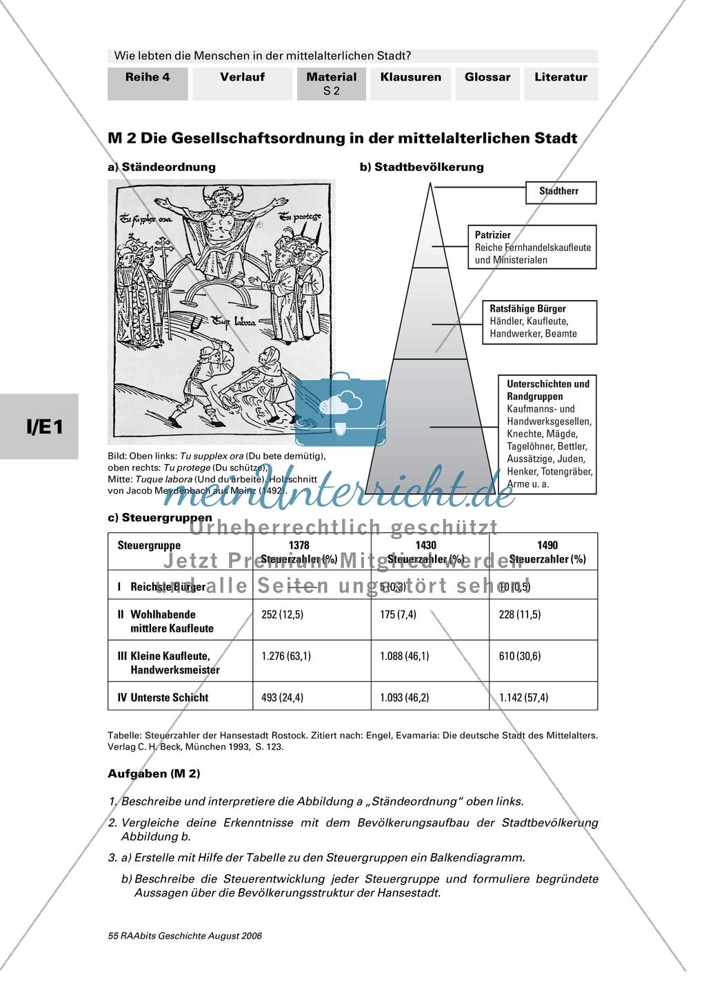Patrizier, Bürger, Zunftgenosse: Gesellschaftsordnung in der mittelalterlichen Stadt + 3 Quellen zum Stadtrecht: 1200, 1214, 1263 Preview 0