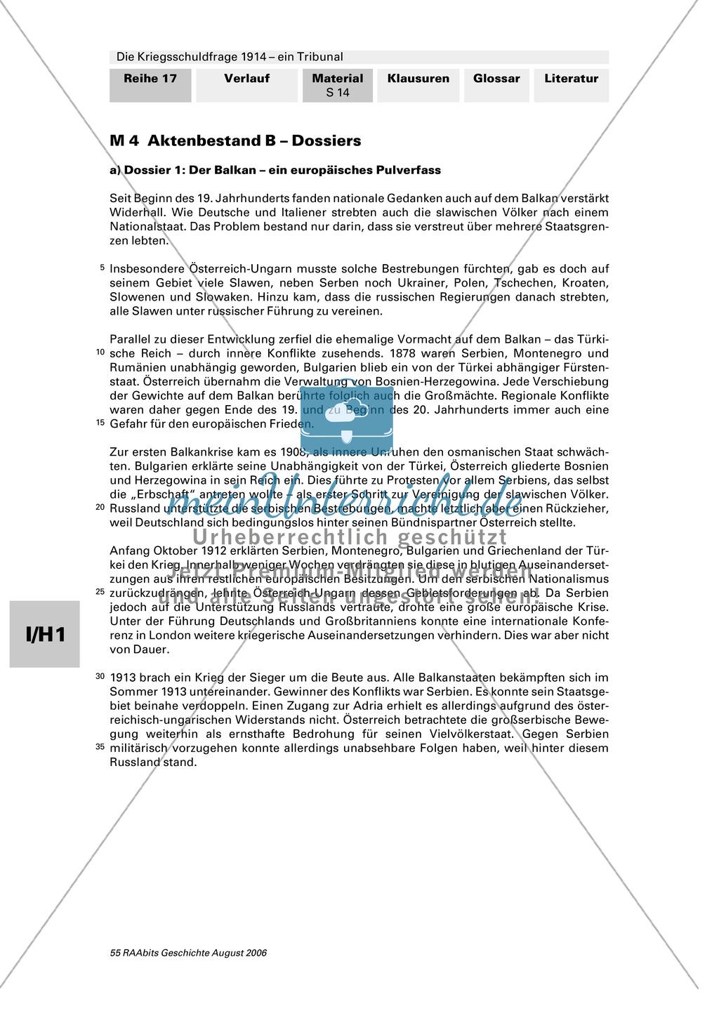 Die Kriegsschuldfrage 1914 - ein Tribunal: Vorbereitung des Rollenspiels mithilfe von Quellen (Depeschen, Telegramme, Dossiers) + Einbettung in den historischen Kontext Preview 9