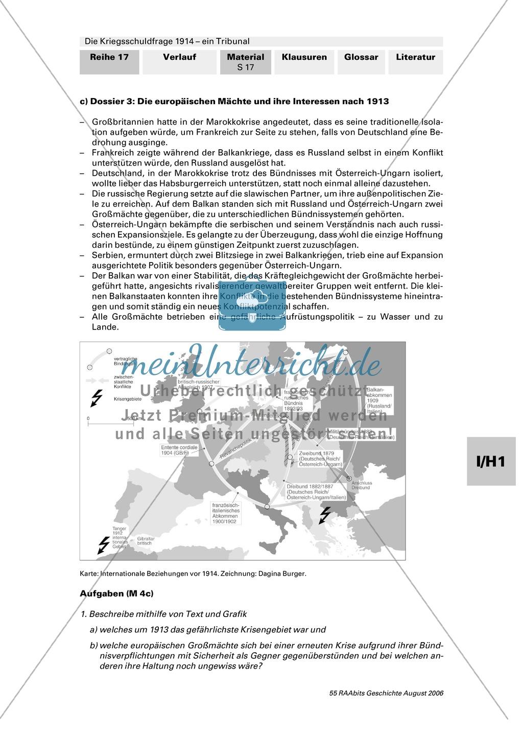 Die Kriegsschuldfrage 1914 - ein Tribunal: Vorbereitung des Rollenspiels mithilfe von Quellen (Depeschen, Telegramme, Dossiers) + Einbettung in den historischen Kontext Preview 12