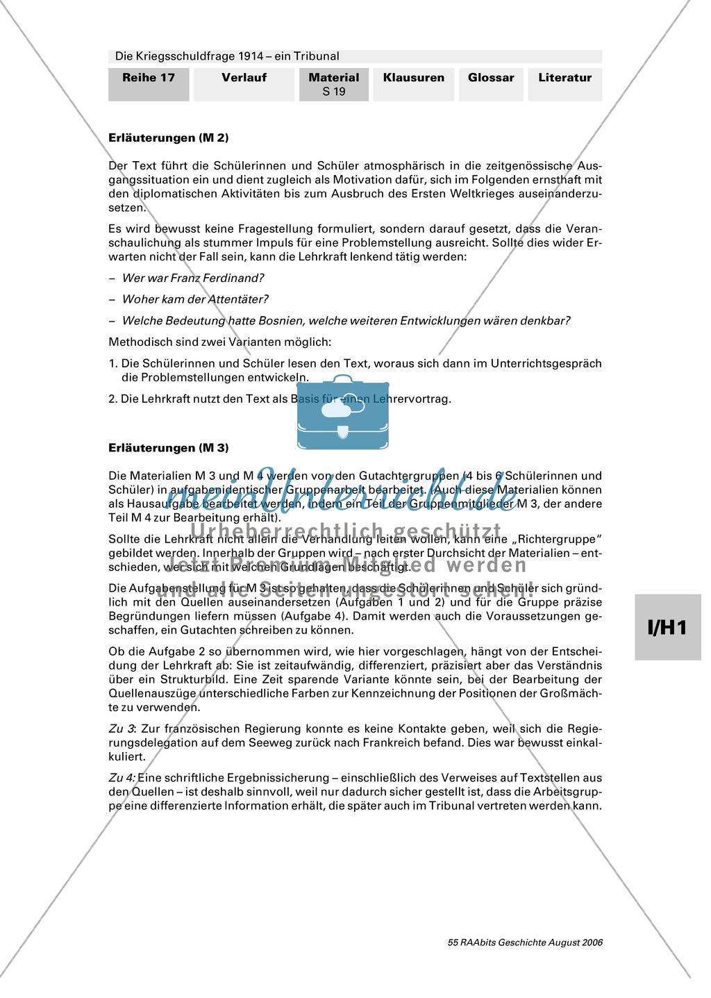 Die Kriegsschuldfrage 1914 - ein Tribunal: Vorbereitung des Rollenspiels mithilfe von Quellen (Depeschen, Telegramme, Dossiers) + Einbettung in den historischen Kontext Preview 14