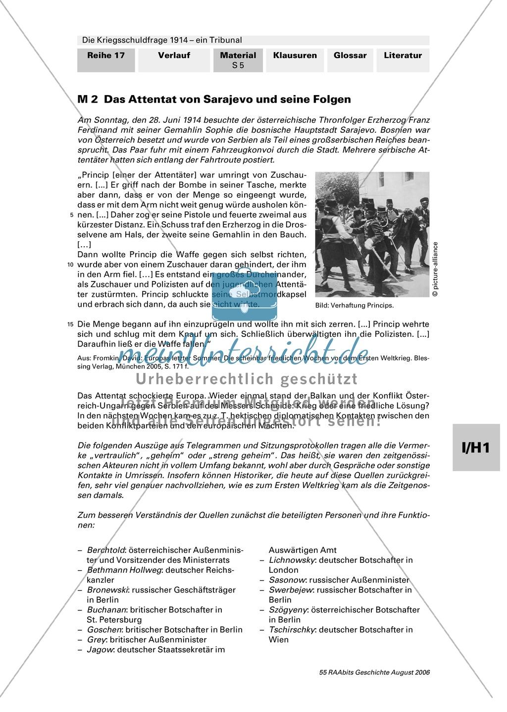 Die Kriegsschuldfrage 1914 - ein Tribunal: Vorbereitung des Rollenspiels mithilfe von Quellen (Depeschen, Telegramme, Dossiers) + Einbettung in den historischen Kontext Preview 0