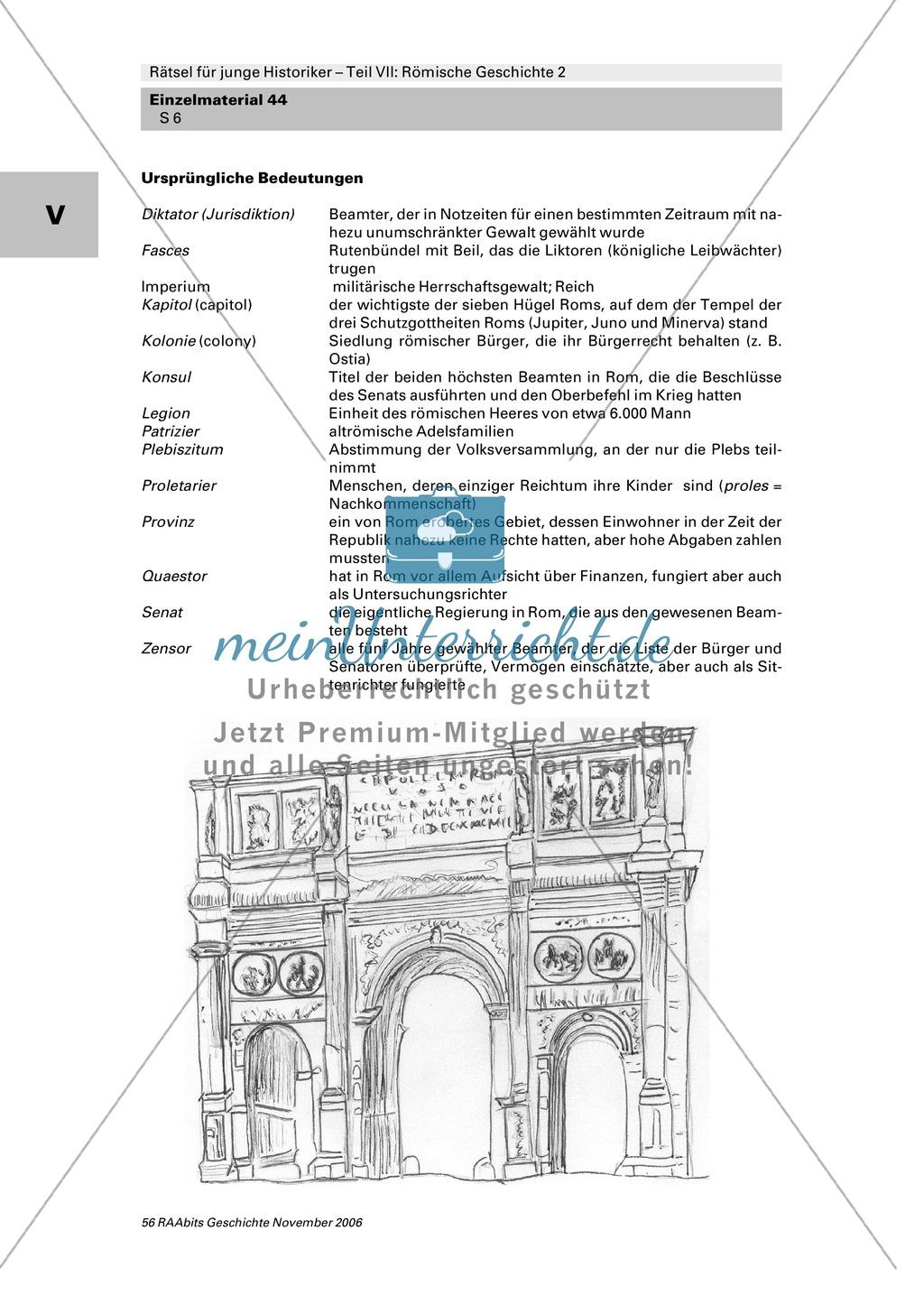 Römische Geschichte: Rätsel zur röm. Politik mit Bezug auf entlehnte Wörter in der Gegenwart Preview 1
