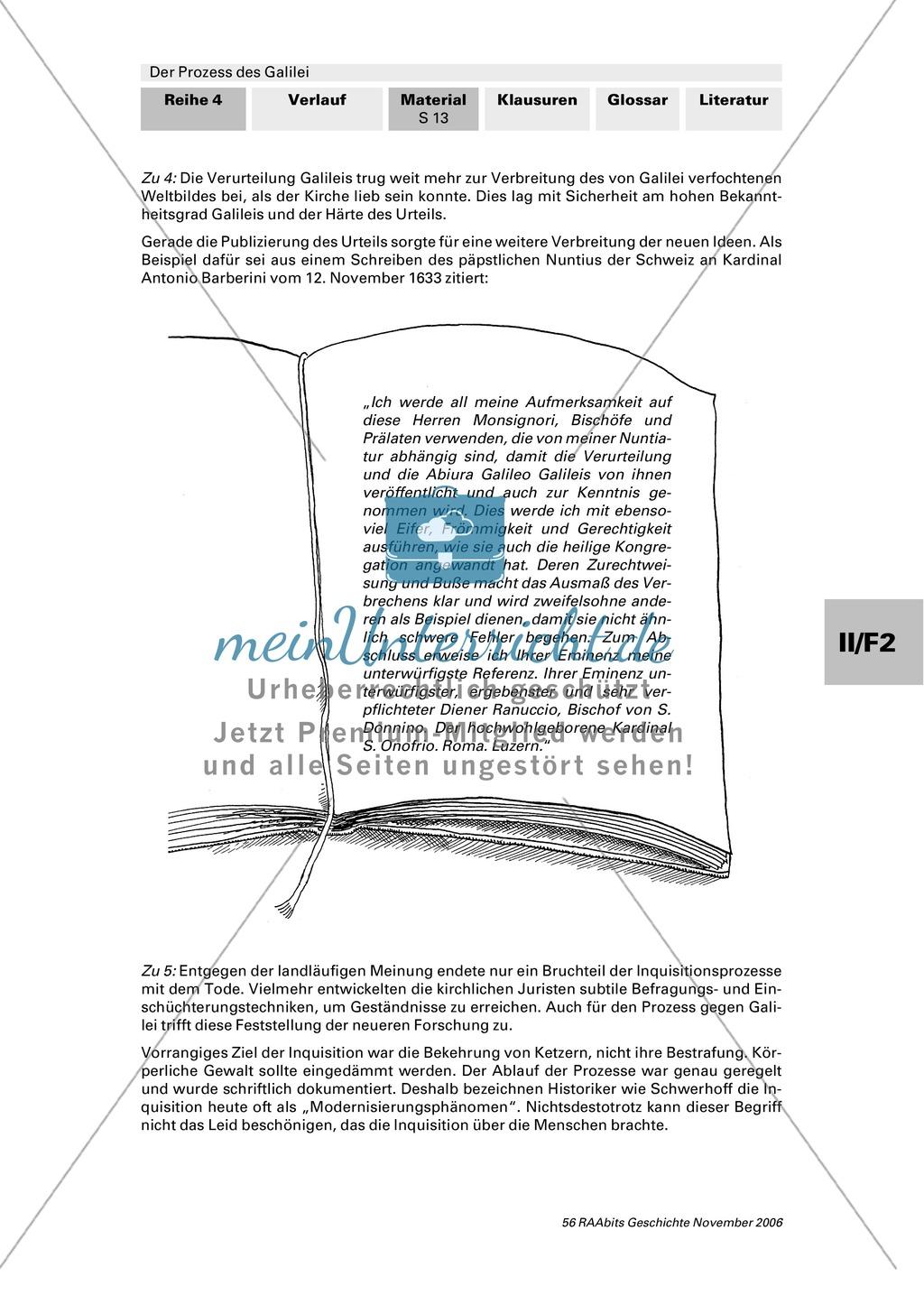 Der Prozess des Galilei: Inquisition als rückwärtsgewandte Institution? Chronologie und Frage nach Fairness des Prozesses Preview 3