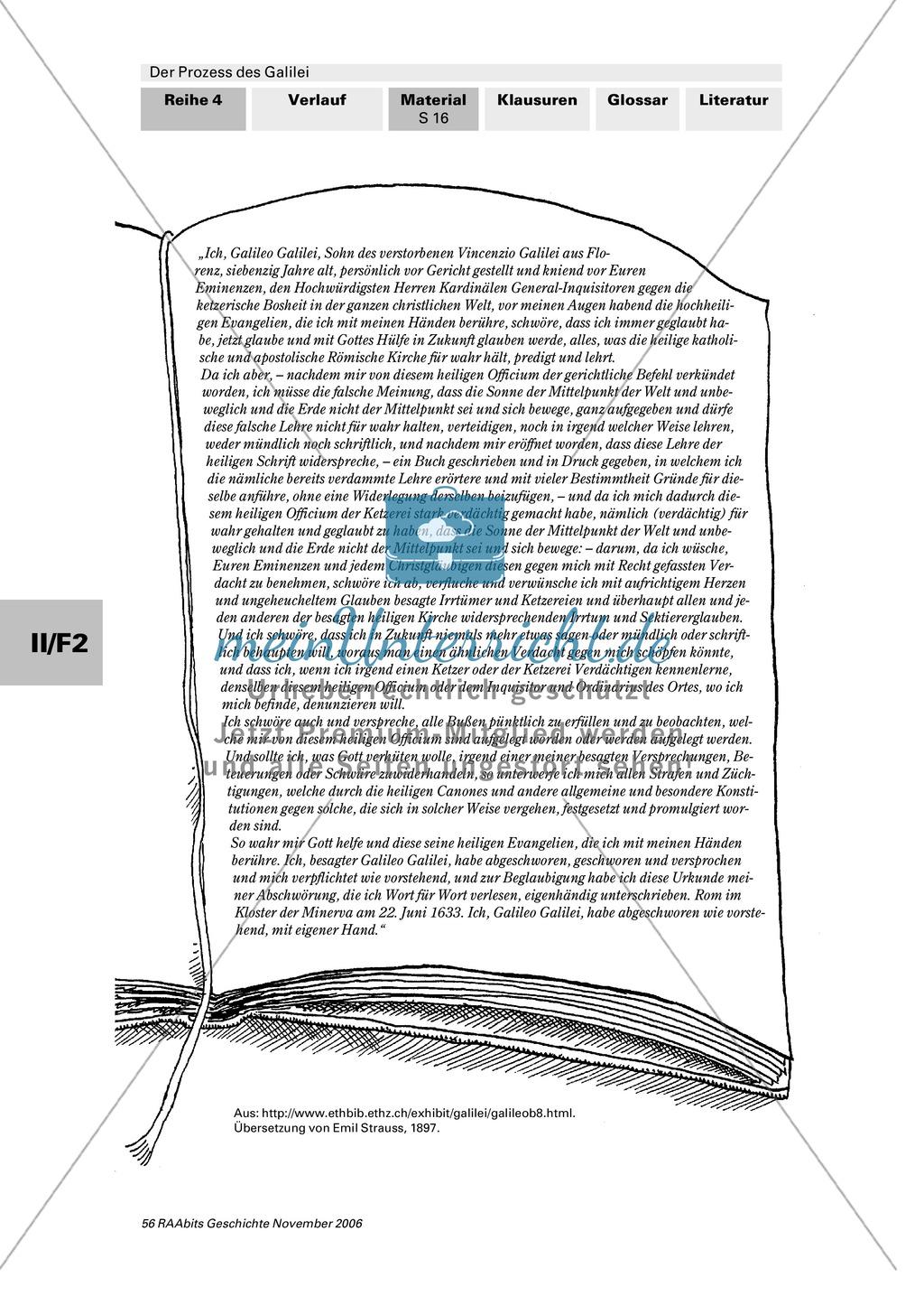 Der Prozess des Galilei: Inquisition als rückwärtsgewandte Institution? Chronologie und Frage nach Fairness des Prozesses Preview 6