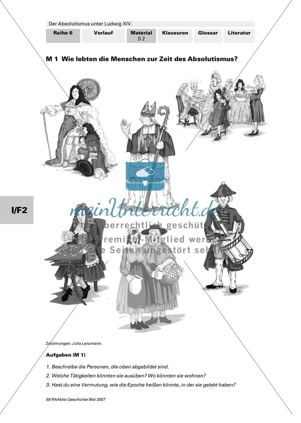 Adel, Klerus, Bauern und Bürger im Absolutismus unter Ludwig XIV.:Erarbeitung anhand von Abildungen Preview 0