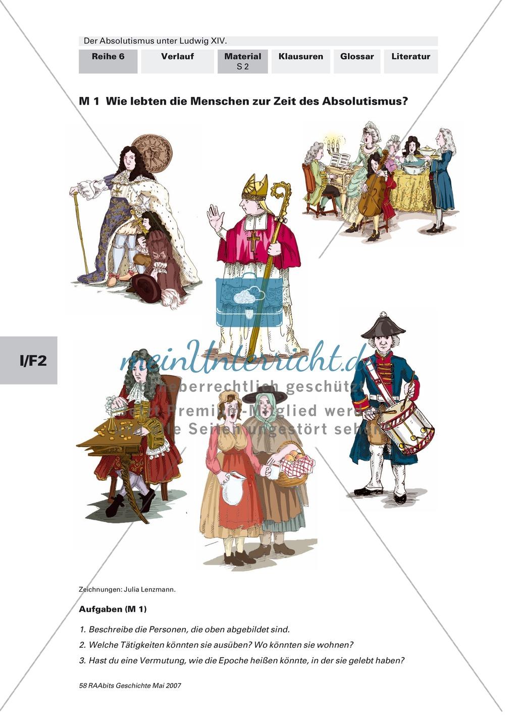 Adel, Klerus, Bauern und Bürger im Absolutismus unter Ludwig XIV.:Erarbeitung anhand von Abildungen Preview 1