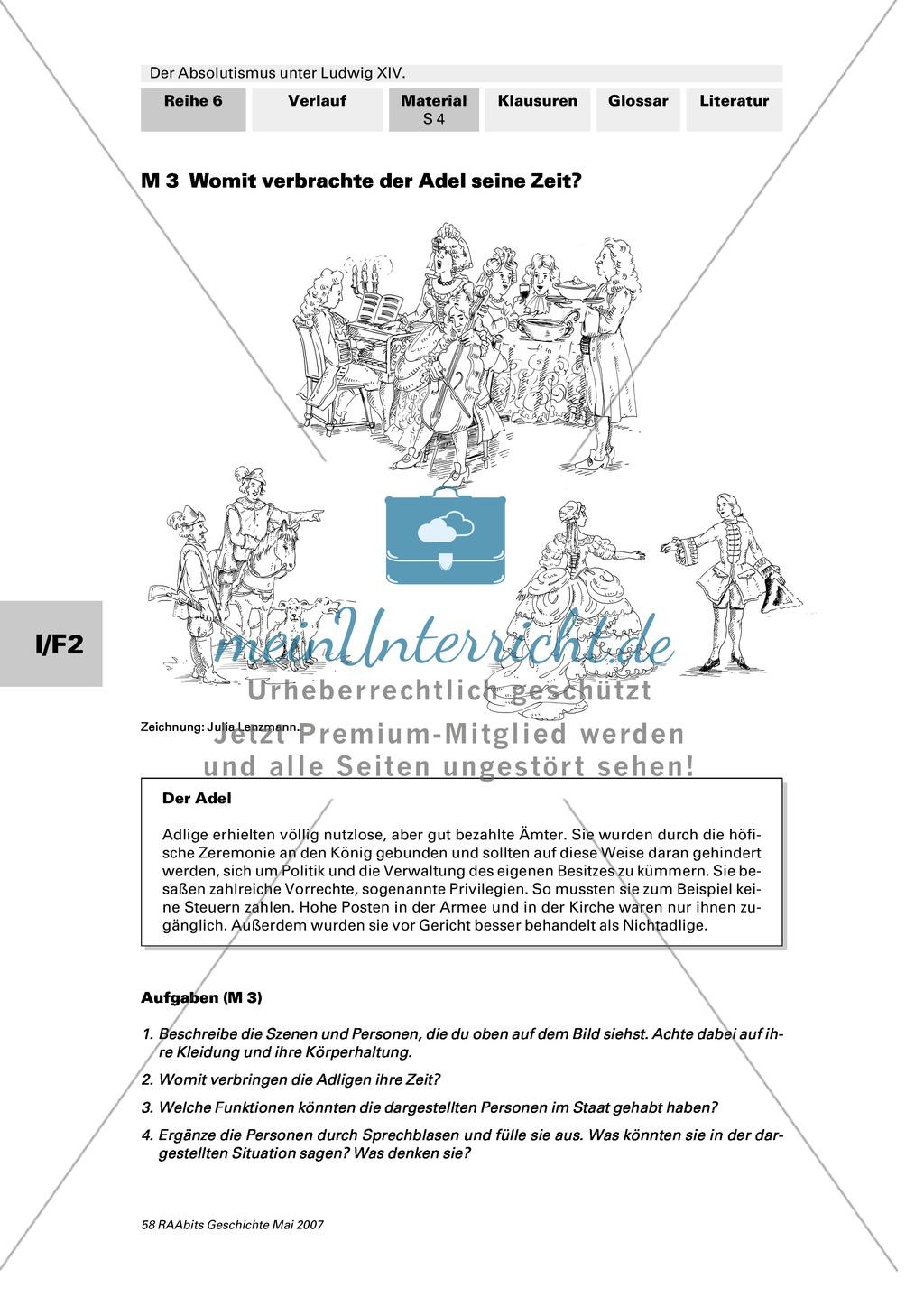 Adel, Klerus, Bauern und Bürger im Absolutismus unter Ludwig XIV.:Erarbeitung anhand von Abildungen Preview 2