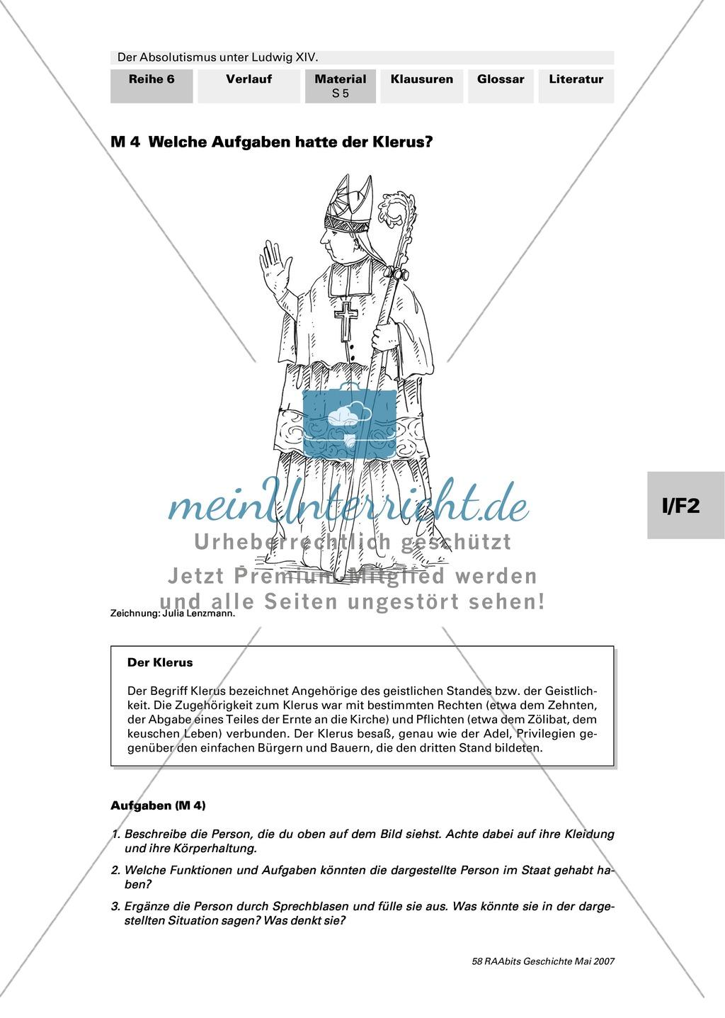 Adel, Klerus, Bauern und Bürger im Absolutismus unter Ludwig XIV.:Erarbeitung anhand von Abildungen Preview 4