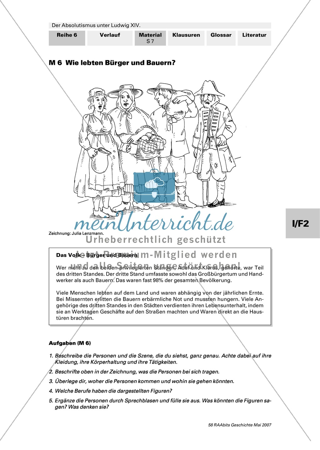Adel, Klerus, Bauern und Bürger im Absolutismus unter Ludwig XIV.:Erarbeitung anhand von Abildungen Preview 6
