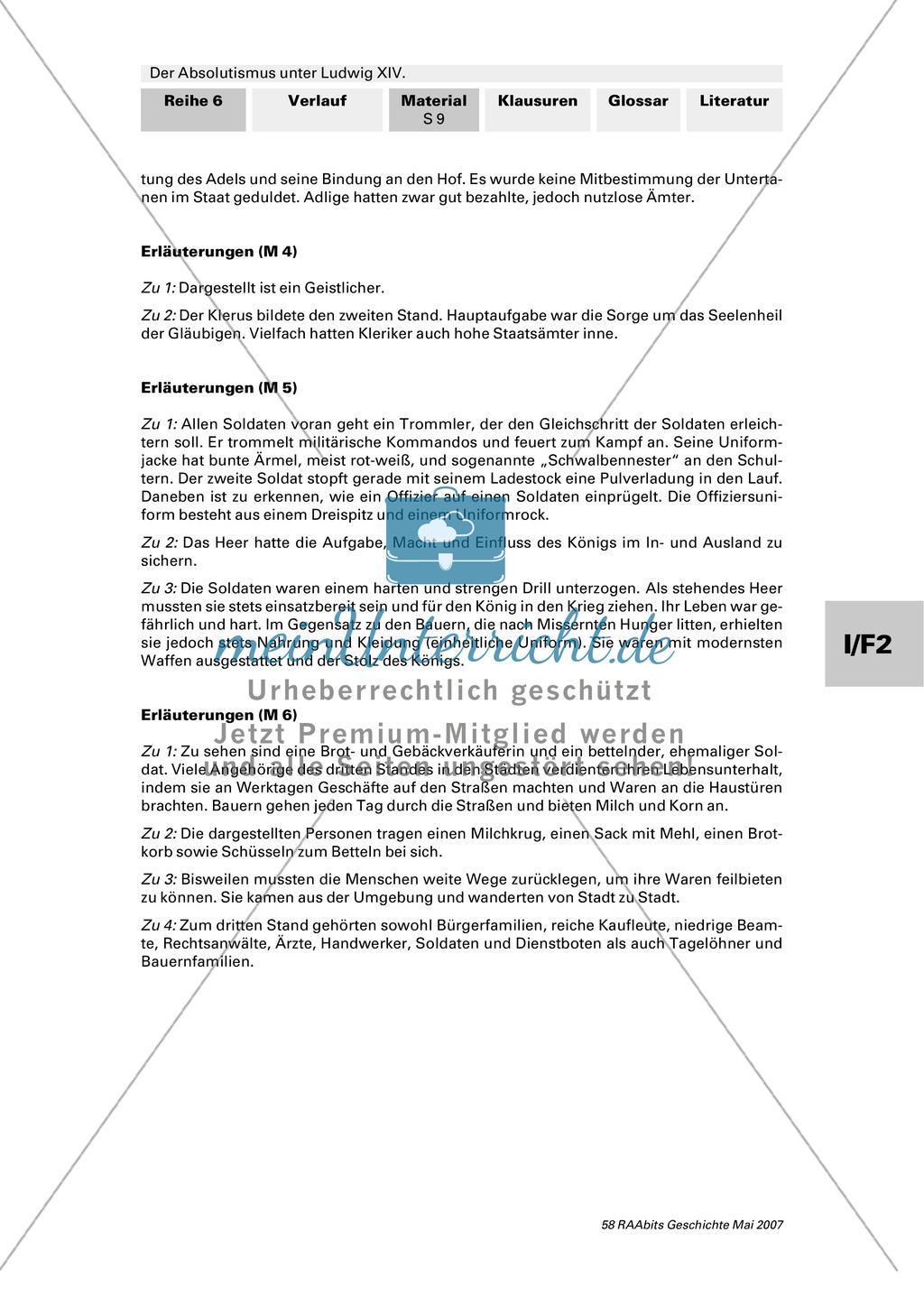 Adel, Klerus, Bauern und Bürger im Absolutismus unter Ludwig XIV.:Erarbeitung anhand von Abildungen Preview 8