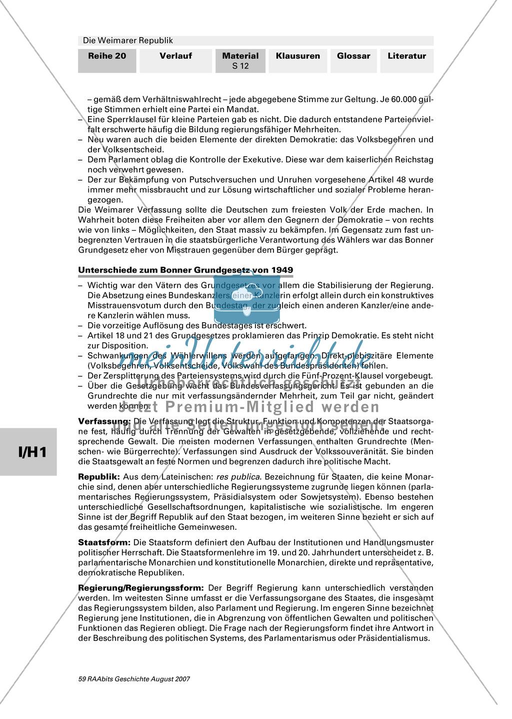 Die Weimarer Republik: Die Verfassung und das Parteienspektrum Preview 2