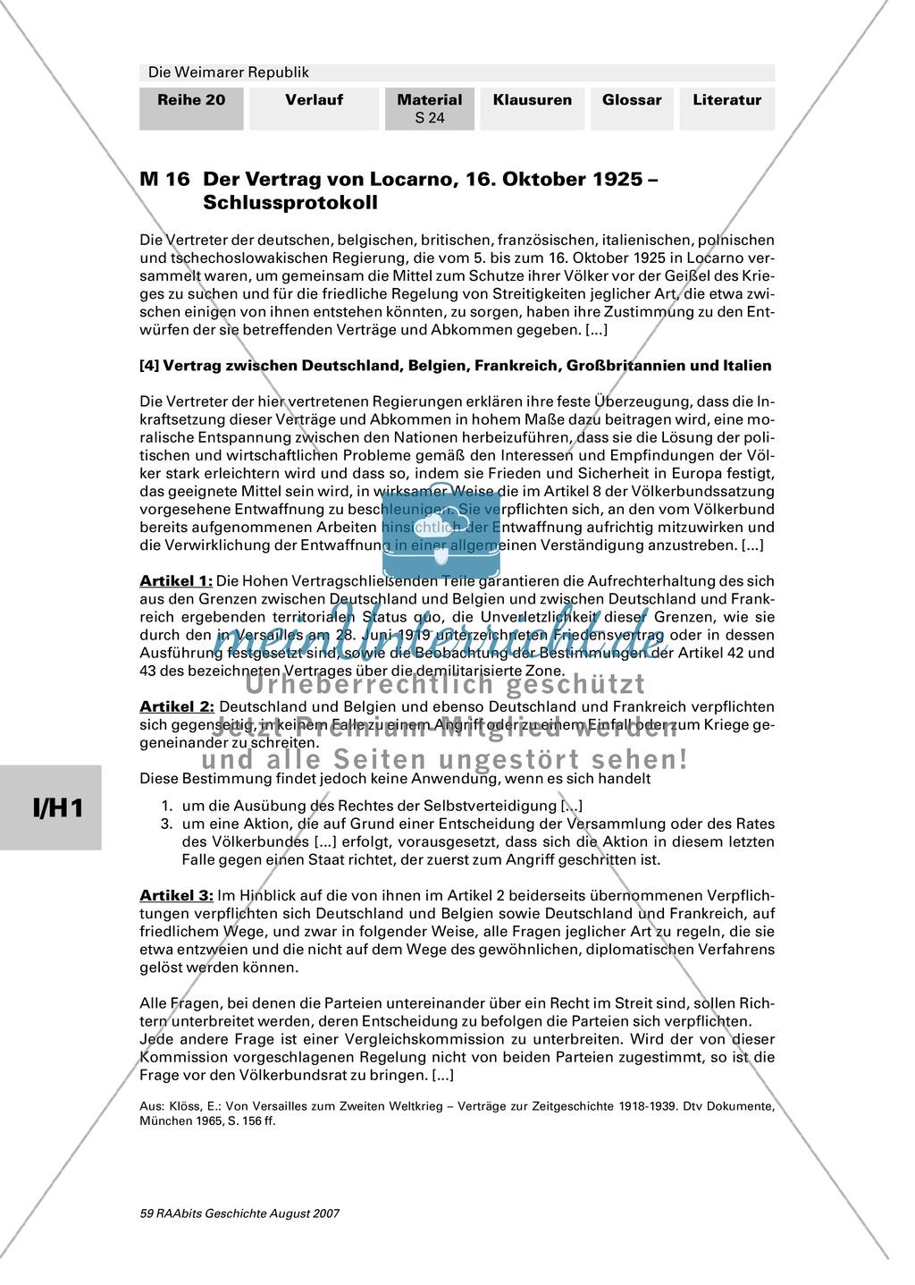 Die Weimarer Republik:Stresemanns Außenpolitik Preview 1