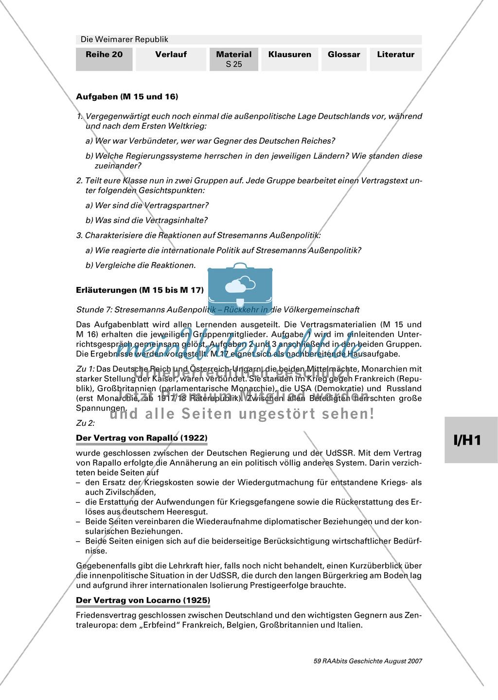 Die Weimarer Republik:Stresemanns Außenpolitik Preview 2