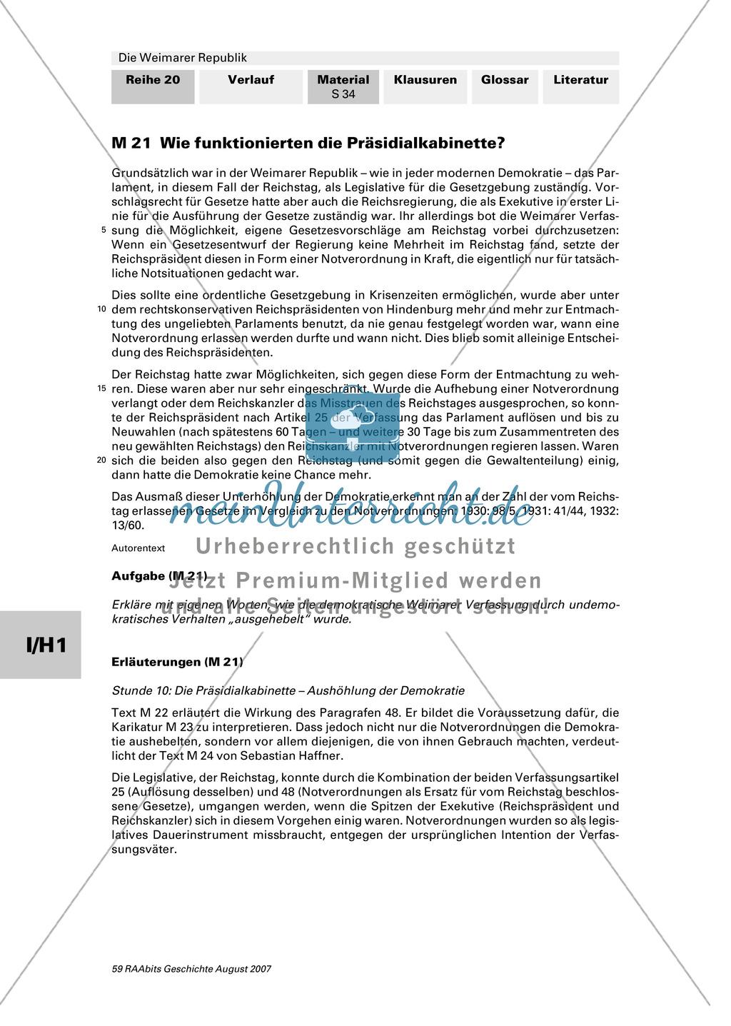 Die Weimarer Republik: Die Präsidialkabinette Preview 0