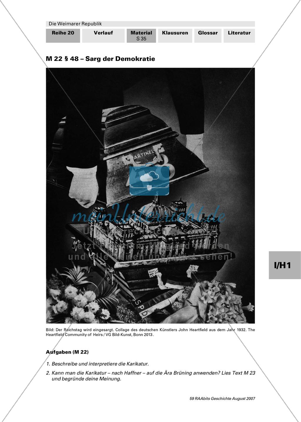 Die Weimarer Republik: Die Präsidialkabinette Preview 1