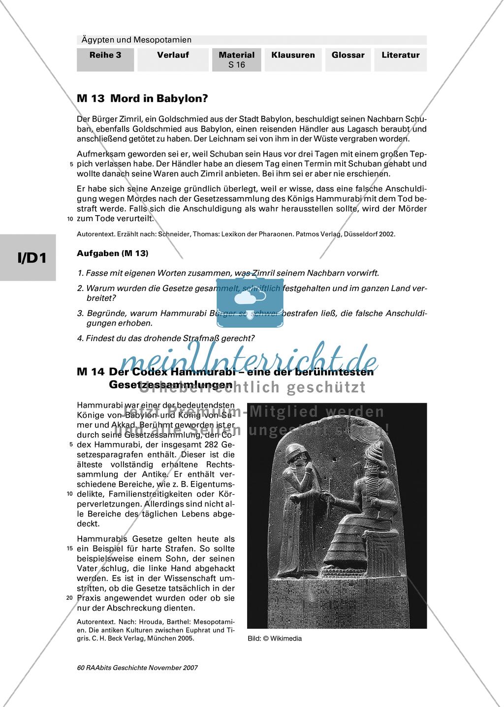 Staatliche und gesellschaftliche Organisation:Die Rechtssprechung in Mesopotamien Preview 0