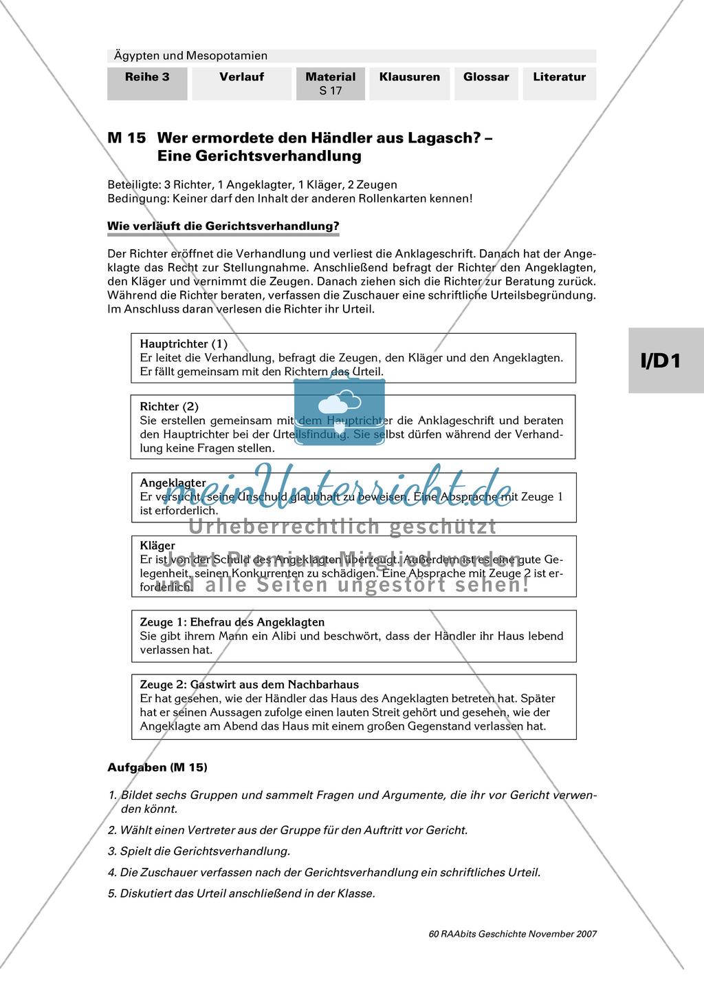 Staatliche und gesellschaftliche Organisation:Die Rechtssprechung in Mesopotamien Preview 1