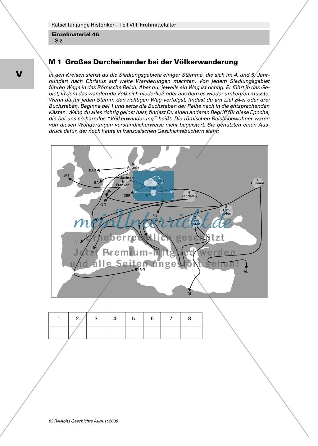 Rätselsammlung Frühmittelalter: Zuordnungsbildrätsel Völkerwanderung Preview 0