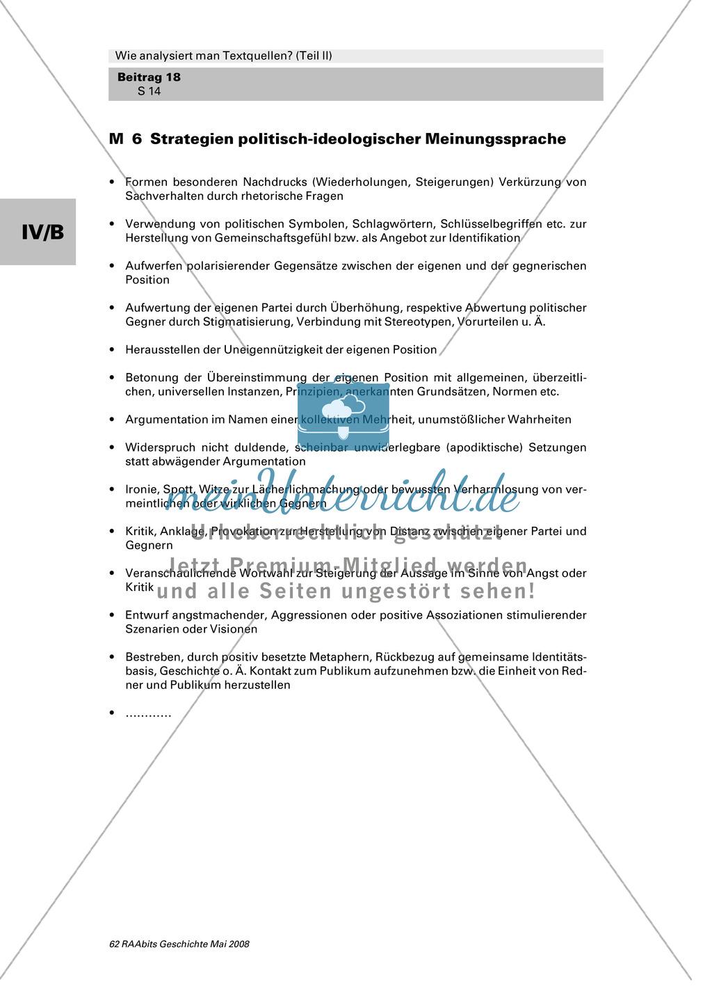 Analyse von Textquellen: Strategien politisch-ideologischer Meinungssprache kennenlernen Preview 0
