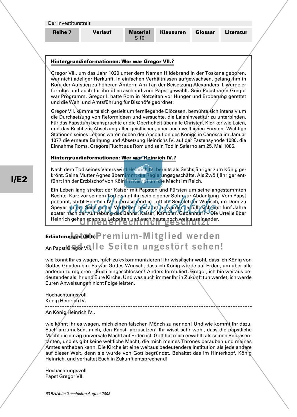 Der Investiturstreit: Ursachen für den 1057 entbrannten Machtkampf zwischen Gregor VII. und Heinrich IV. kennenlernen + einen Brief von Gregor an Heinrich verfassen Preview 9