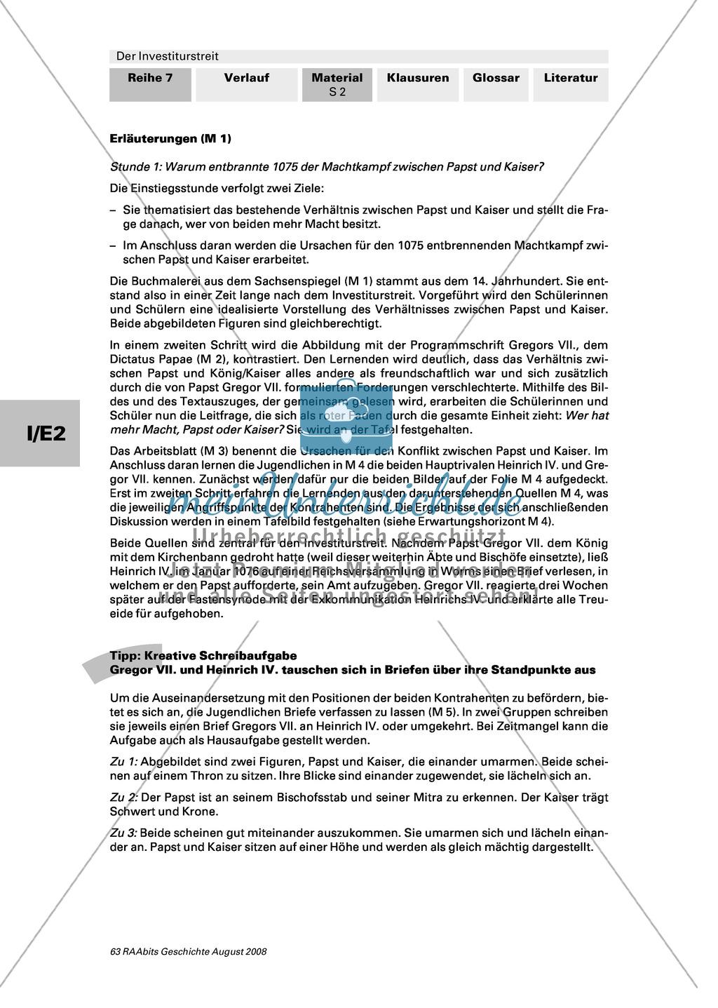 Der Investiturstreit: Ursachen für den 1057 entbrannten Machtkampf zwischen Gregor VII. und Heinrich IV. kennenlernen + einen Brief von Gregor an Heinrich verfassen Preview 1