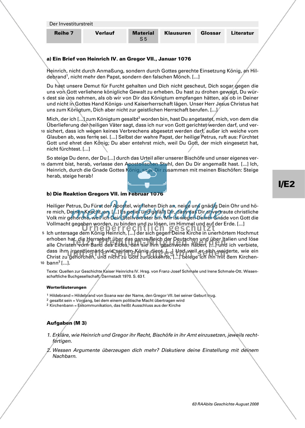 Der Investiturstreit: Ursachen für den 1057 entbrannten Machtkampf zwischen Gregor VII. und Heinrich IV. kennenlernen + einen Brief von Gregor an Heinrich verfassen Preview 4