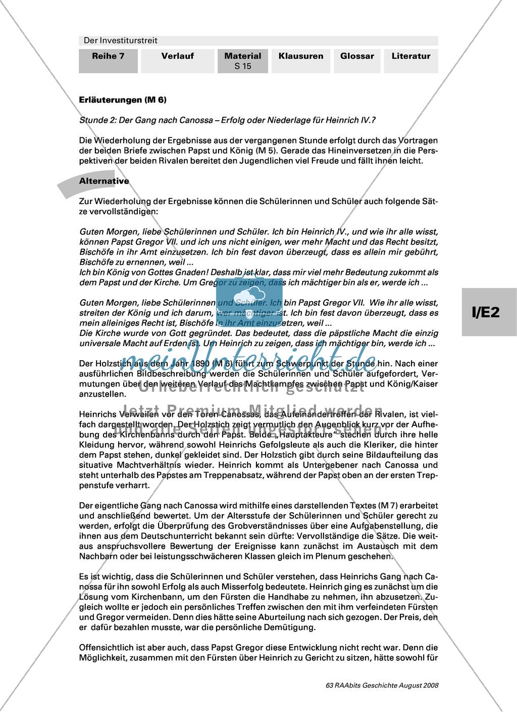Der Investiturstreit: Der Gang nach Canossa als Sieg oder Niederlage für Heinrich IV. bewerten + ein Interview mit Heinrich IV. und Gregor VII. führen Preview 4