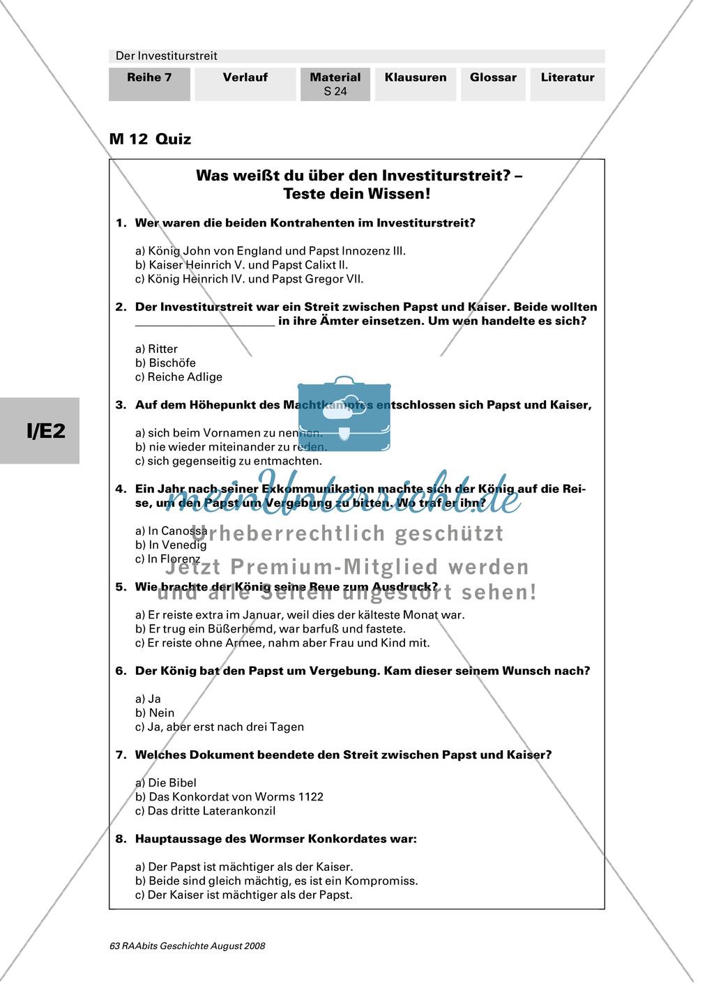 Der Investiturstreit: Lernerfolgskontrolle in Form eines Rollenspiels und eines Quiz Preview 2