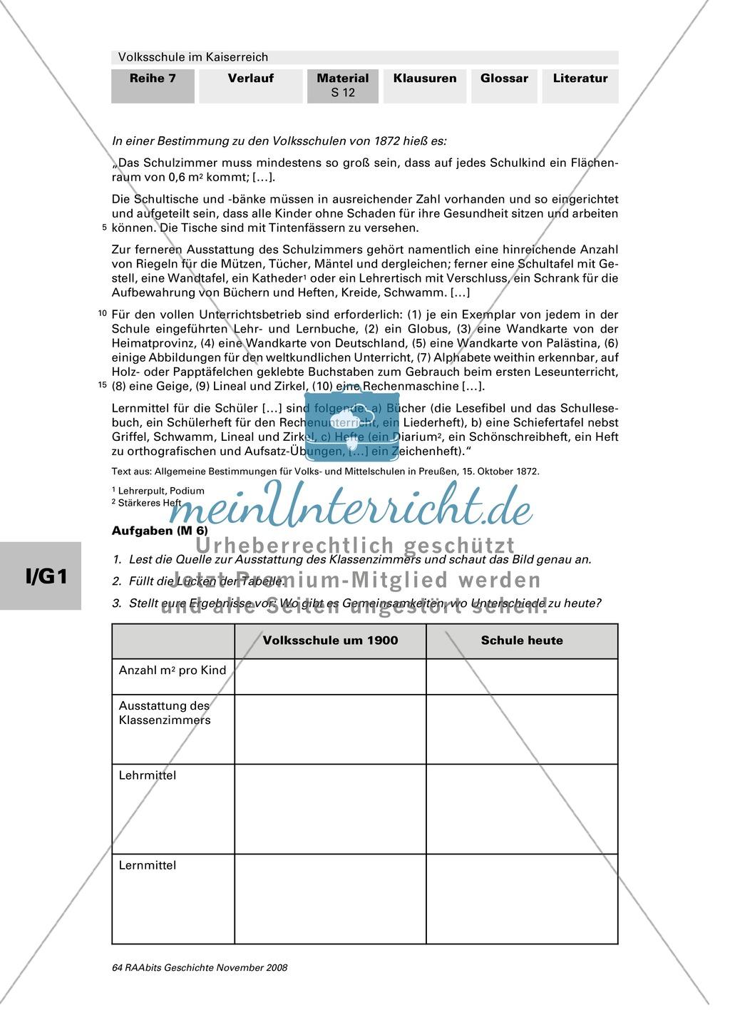 Volksschule im Kaiserreich: Gruppenarbeit zu Aspekten der Volksschule wie Disziplin, Regeln, Strafen, Stundenplan, Lehrerverhalten Preview 10