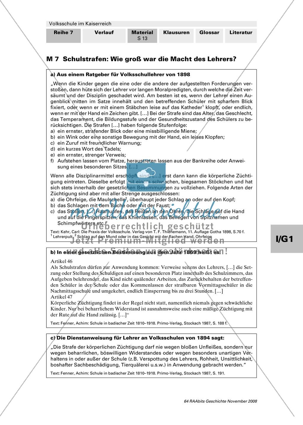Volksschule im Kaiserreich: Gruppenarbeit zu Aspekten der Volksschule wie Disziplin, Regeln, Strafen, Stundenplan, Lehrerverhalten Preview 11
