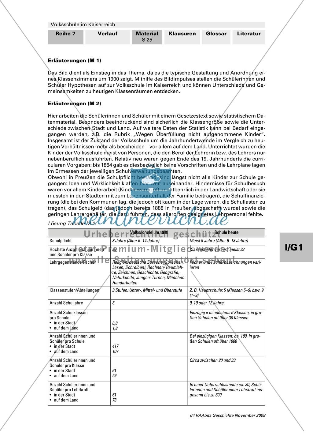 Volksschule im Kaiserreich: Gruppenarbeit zu Aspekten der Volksschule wie Disziplin, Regeln, Strafen, Stundenplan, Lehrerverhalten Preview 13