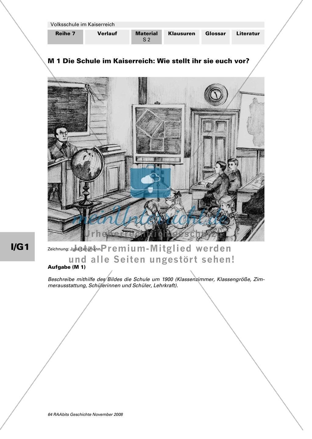 Volksschule im Kaiserreich: Gruppenarbeit zu Aspekten der Volksschule wie Disziplin, Regeln, Strafen, Stundenplan, Lehrerverhalten Preview 0