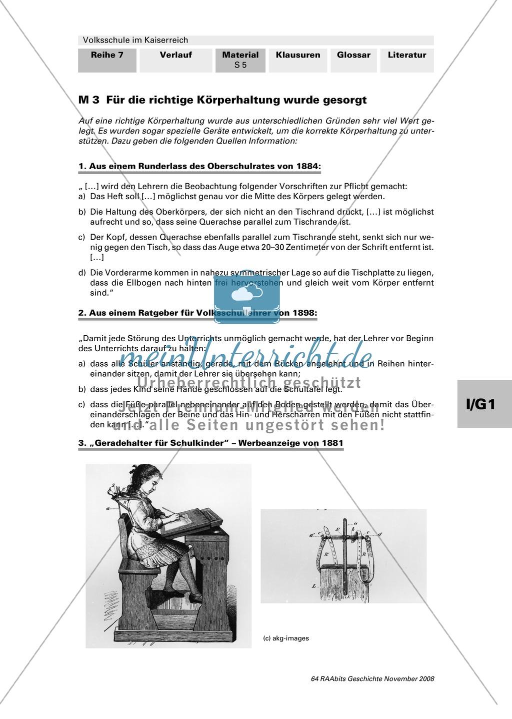 Volksschule im Kaiserreich: Gruppenarbeit zu Aspekten der Volksschule wie Disziplin, Regeln, Strafen, Stundenplan, Lehrerverhalten Preview 3