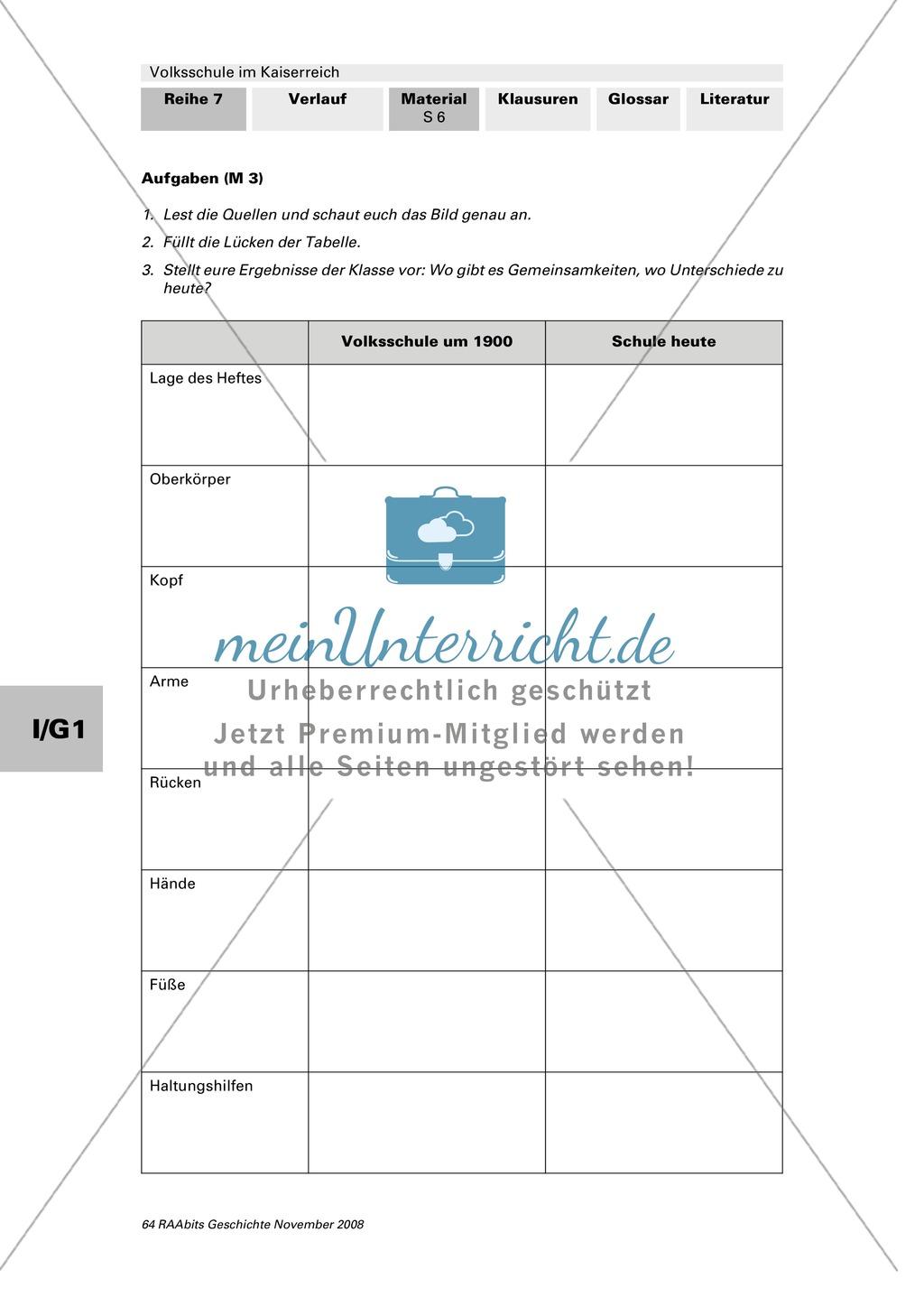 Volksschule im Kaiserreich: Gruppenarbeit zu Aspekten der Volksschule wie Disziplin, Regeln, Strafen, Stundenplan, Lehrerverhalten Preview 4