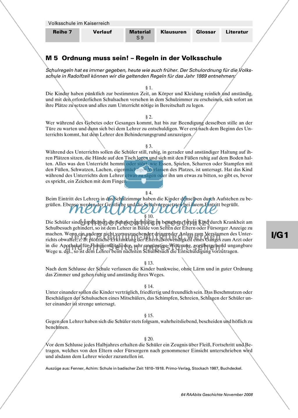 Volksschule im Kaiserreich: Gruppenarbeit zu Aspekten der Volksschule wie Disziplin, Regeln, Strafen, Stundenplan, Lehrerverhalten Preview 7