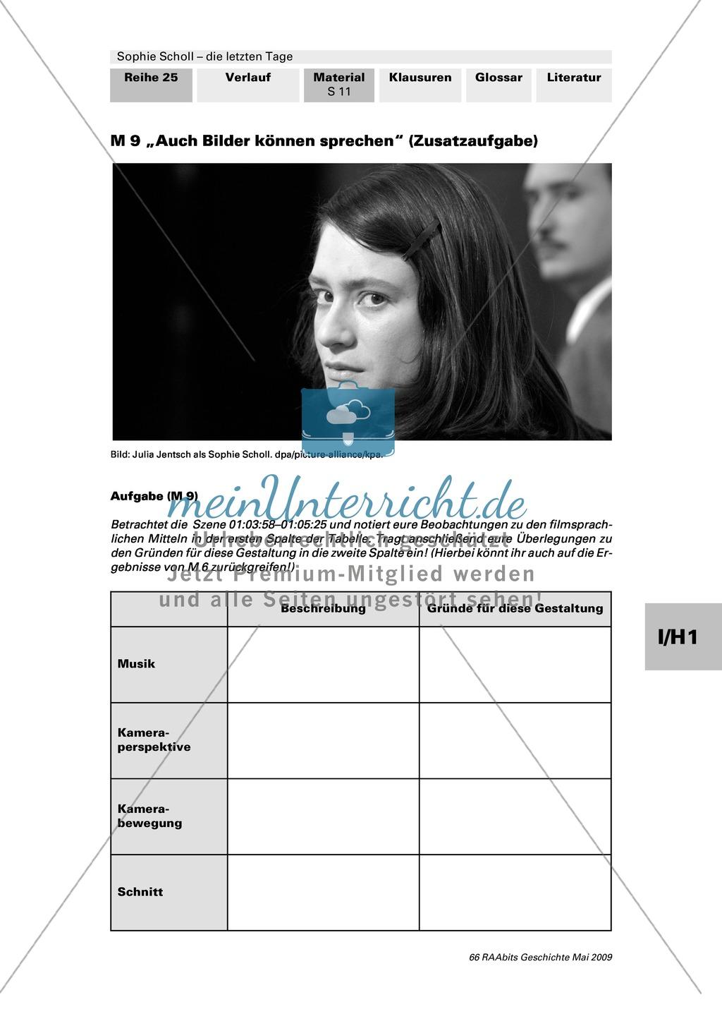 Sophie Scholl - die letzten Tage: Analyse der Filmsprache. Annäherung an Sophies Gedanken und Gefühle Preview 3
