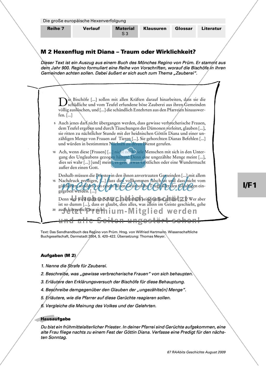 Die große europäische Hexenverfolgung: Fragebogen: Wissen über Hexen + Textauszug eines Bischofs zur Zauberei Preview 1