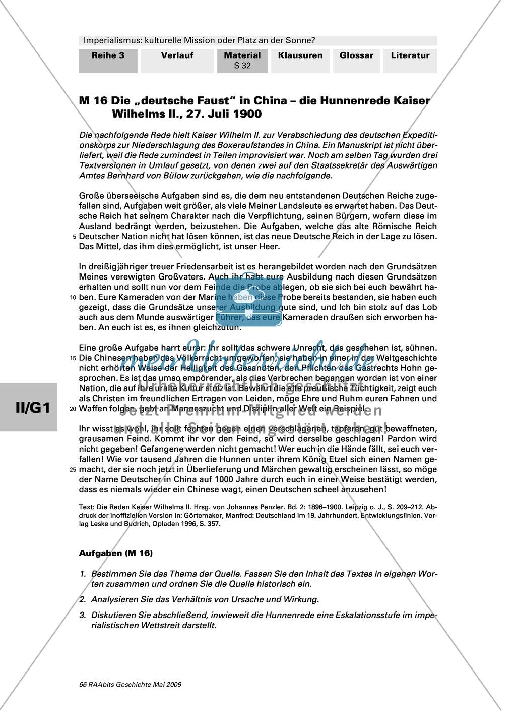 Imperialismus: Text: Hunnenrede von Kaiser Wilhelm II. vom 27. Juli 1900 + Preview 1