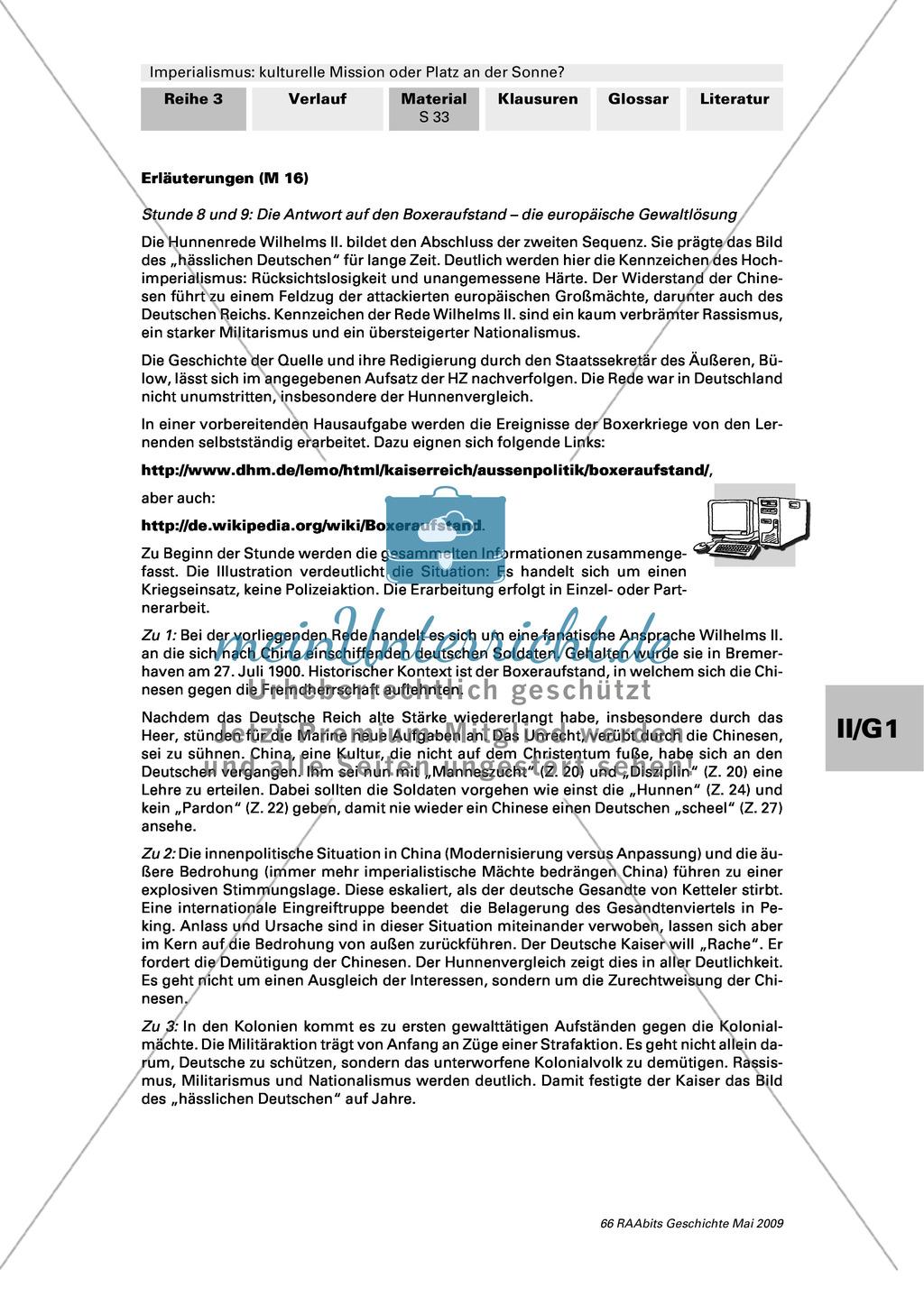 Imperialismus: Text: Hunnenrede von Kaiser Wilhelm II. vom 27. Juli 1900 + Preview 2