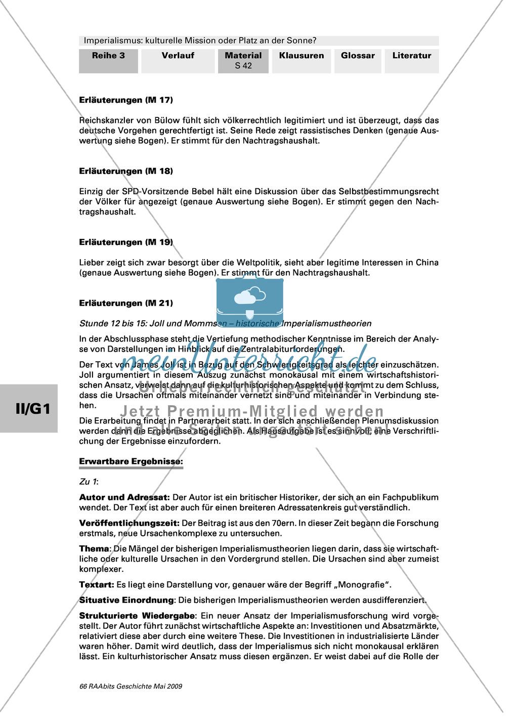 Imperialismus: historische Imperialismustheorien: Text: James Joll: Entstehung Imperialismus + Text: Wolfgang J. Mommsen: Folgen imperialistischer Herrschaft Preview 2