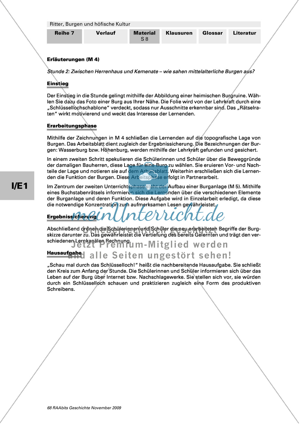 Ritter, Burgen und höfische Kultur: Lage und Aufbau mittelalterlicher Ritterburgen Preview 2