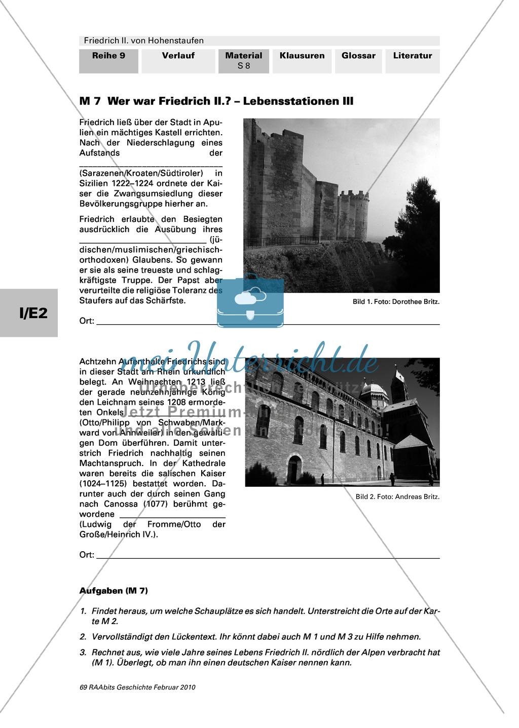 Friedrich II. von Hohenstaufen: Lebensstationen Friedrichs in Stationen erarbeiten Preview 3