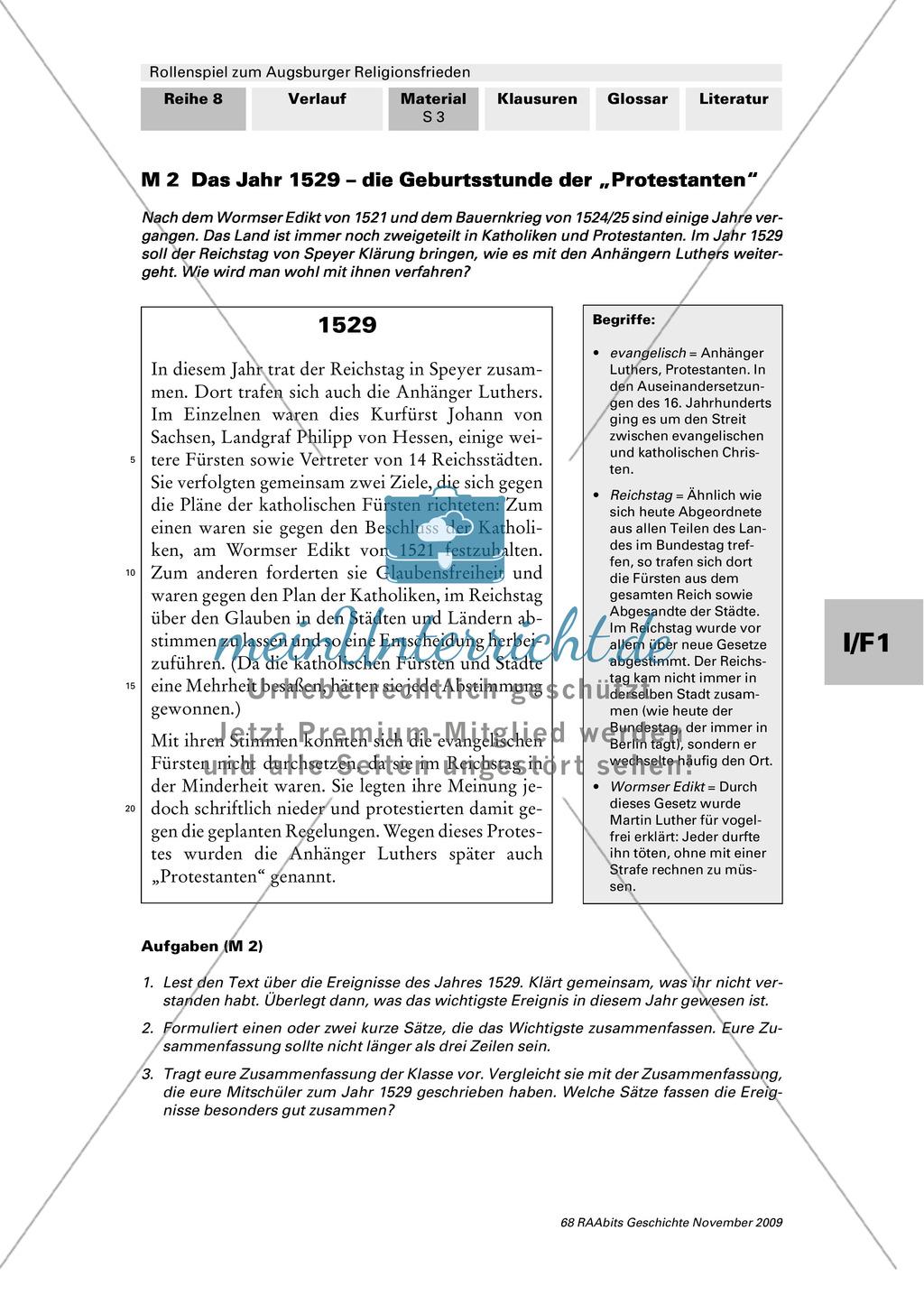 Reformation 1529-1548: Die Außeinandersetzung zwischen Kaiser Karl V. und den Protestanten vom Reichstag von Speyer bis zum Smalkaldischen Krieg Preview 1