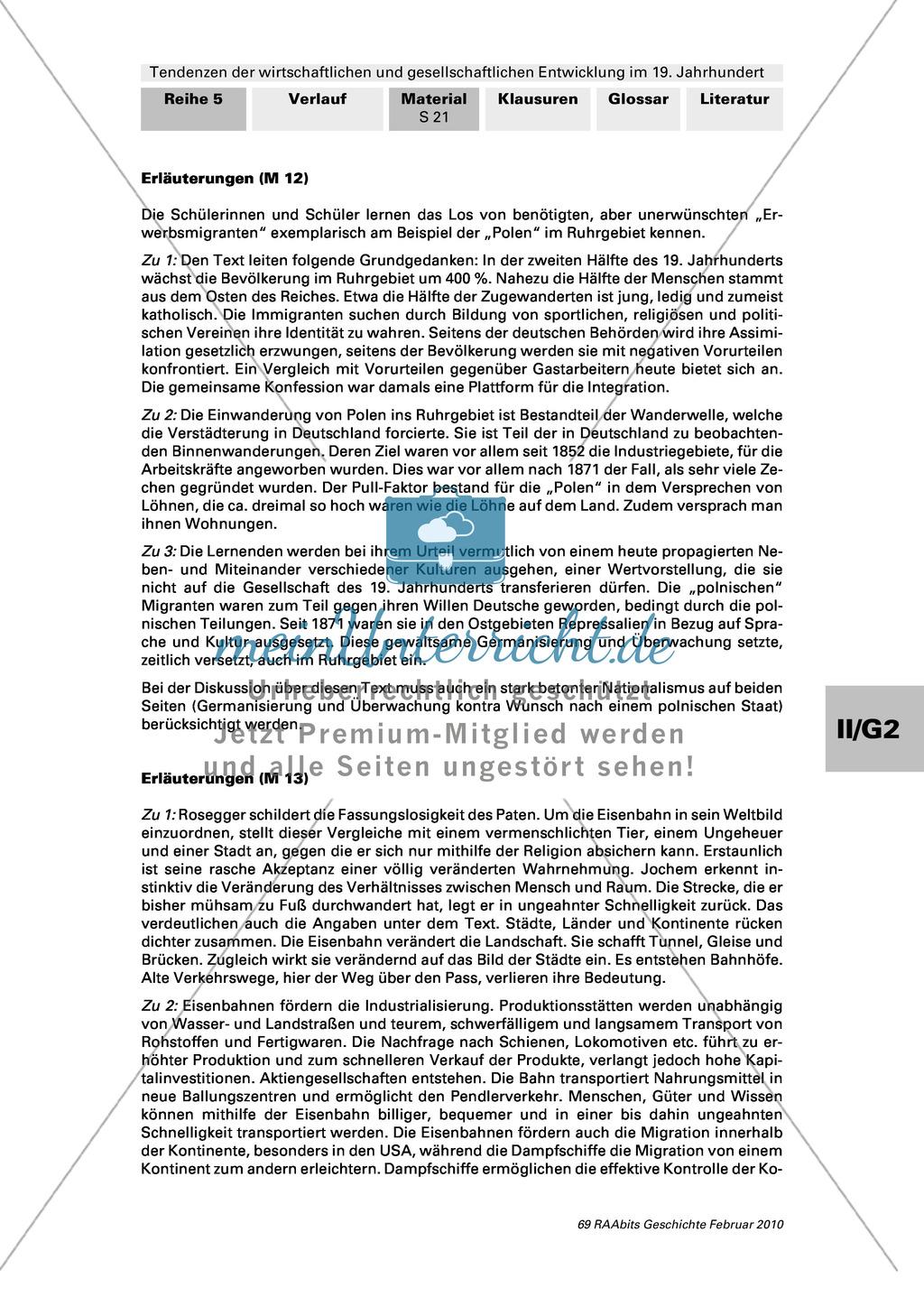 Tendenzen der wirtschaftlichen und gesellschaftlichen Entwicklung im 19. Jh.: Das Jahrhundert erhöhter Mobilität - Gruppenarbeit Preview 6
