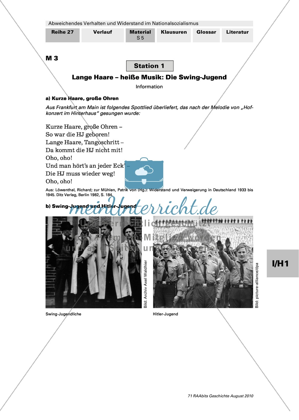 Abweichendes Verhalten und Widerstand im Nationalsozialismus: Die Swing-Jugend Preview 0
