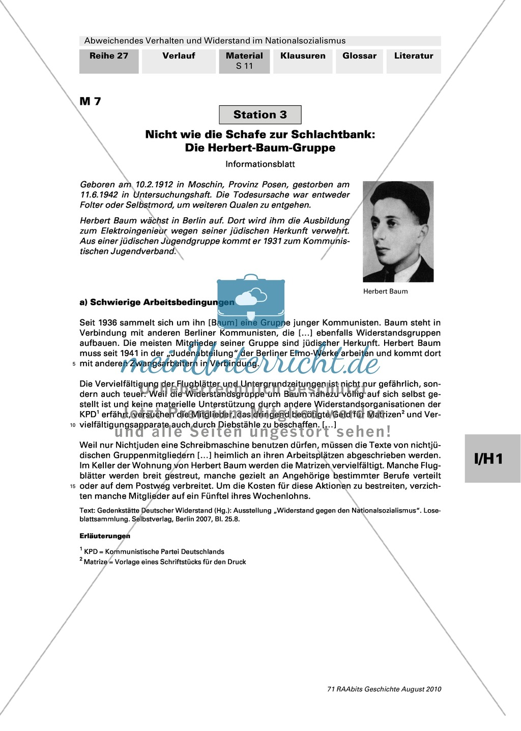 Abweichendes Verhalten und Widerstand im Nationalsozialismus: Die Herbert-Baum-Gruppe Preview 1