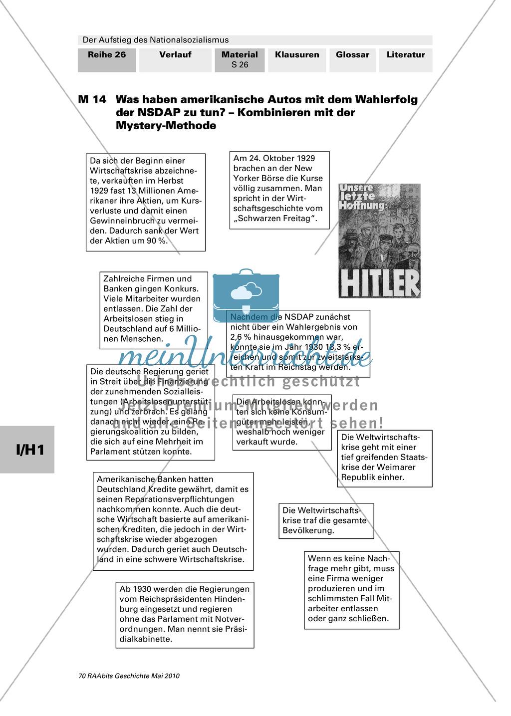 Der Aufstieg des Nationalsozialismus in der Weimarer Republik: Texte: Weltwirtschaftskrise und der Aufstieg der NSDAP + Mystery-Methode Preview 0